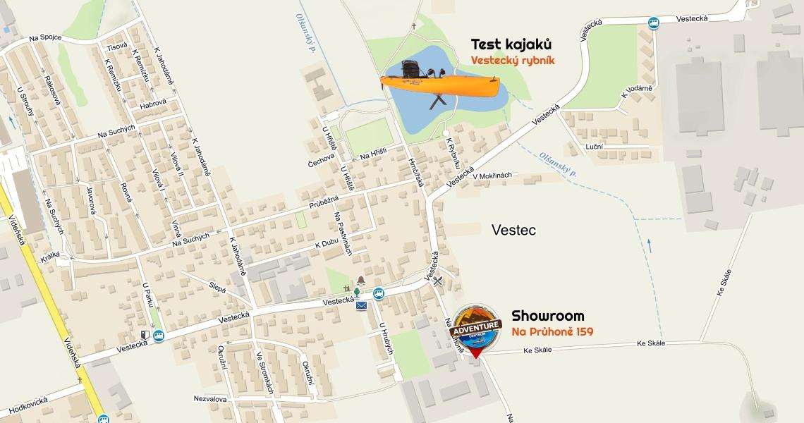 Mapka testování kajaků rybník Vestec u Prahy